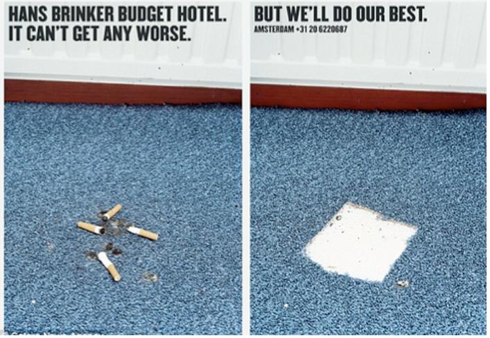 More honesty from the Hans Brinker Hotel in Amsterdam. Alarmingly honest advertising.