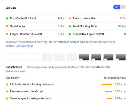 Check your website speed with pagespeed insights
